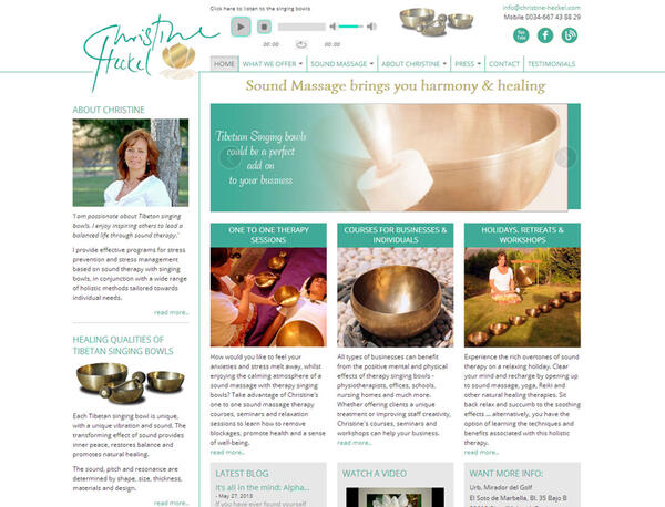 Christine Heckel | Sound massage practitioner | Web Design and Programming Portfolio by Redline Company
