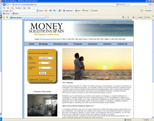Money Solutions Spain | Mortgage company | Web Design and Programming Portfolio by Redline Company