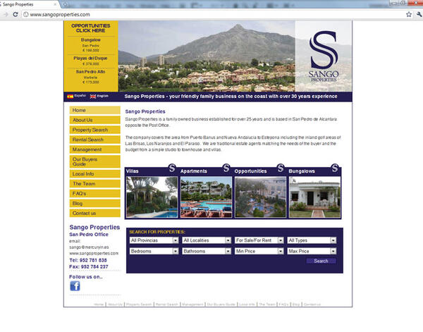 Sango Properties | Real Estate | Web Design and Programming Portfolio by Redline Company