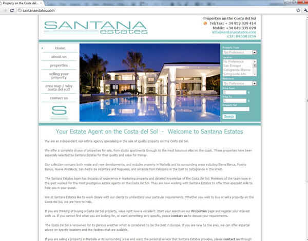Santana Estates| Real Estate| Web Design and Programming Portfolio by Redline Company