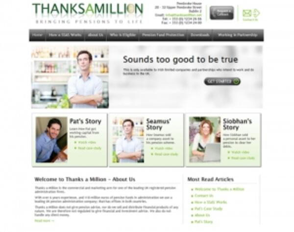 Thanks A Million | Pension Company | Web Design and Programming Portfolio by Redline Company
