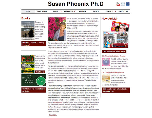 Dr.Susan Phoenix | Meditation, Past Life Regression and Author | Web Design and Programming Portfolio by Redline Company