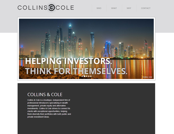Collins Cole | Investment Company | Web Design and Programming Portfolio by Redline Company